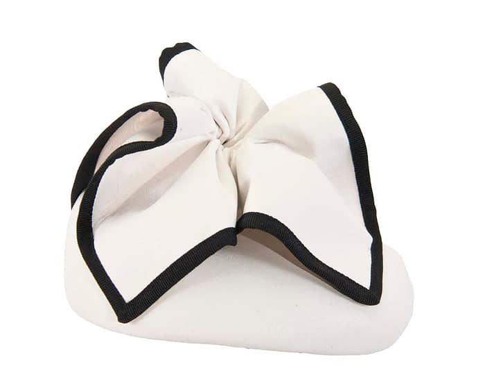 White & Black leather pillbox racing fascinator Fascinators.com.au