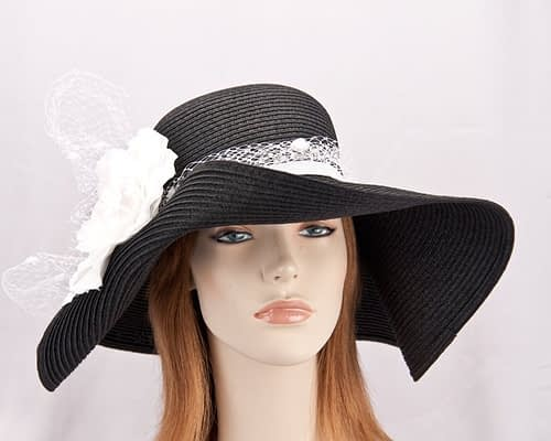 Black wide brim floppy hat with white flower SP020 Fascinators.com.au