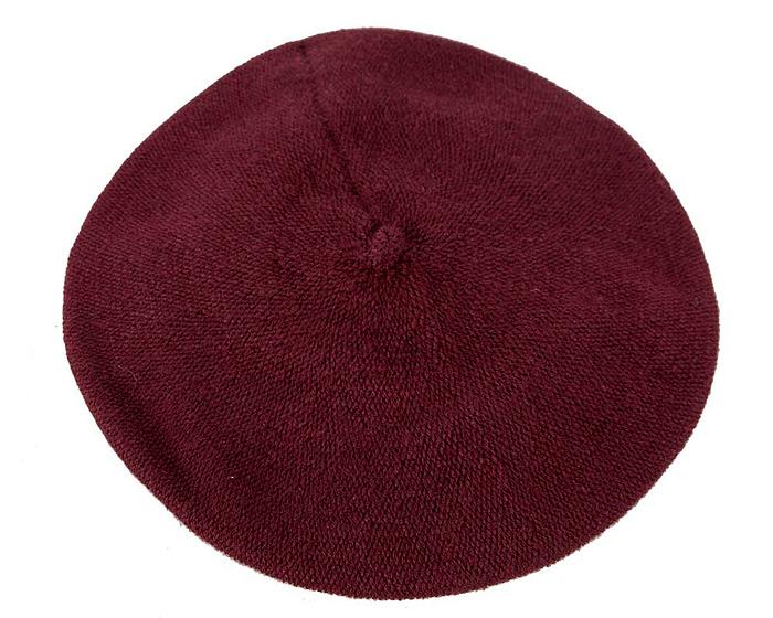 Classic warm plum wool beret. Made in Europe Fascinators.com.au