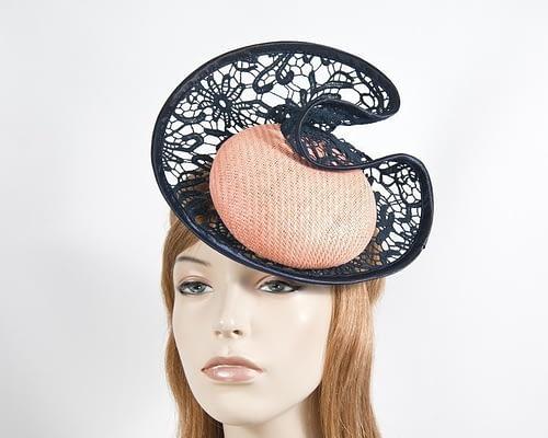 Coral & navy lace headpiece Fascinators.com.au