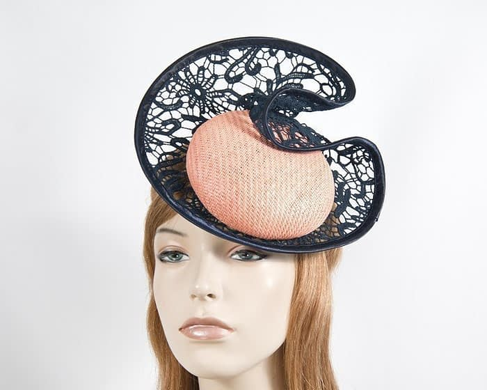 Coral & navy lace headpiece Fascinators.com.au