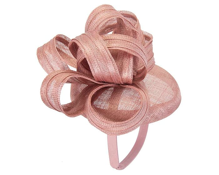 Dusty pink sinamay pillbox with loops by Max Alexander Fascinators.com.au