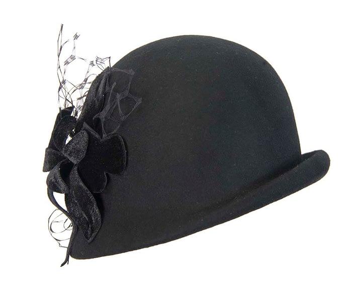 Black cloche ladies winter felt hat with flower Fascinators.com.au