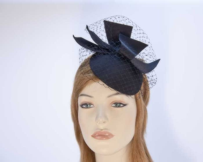 Black fascinator pillbox with veiling K5012B Fascinators.com.au