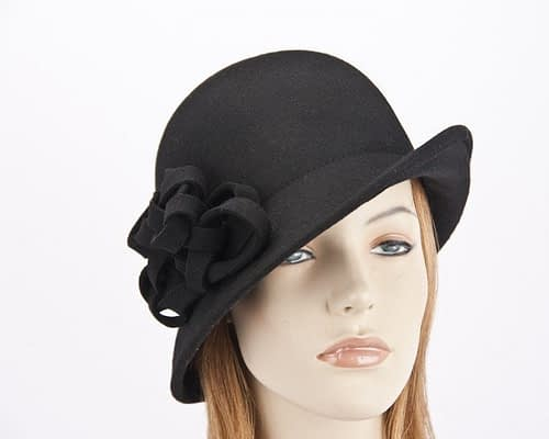 Black felt cloche hat with original trim J300B Fascinators.com.au J300 black