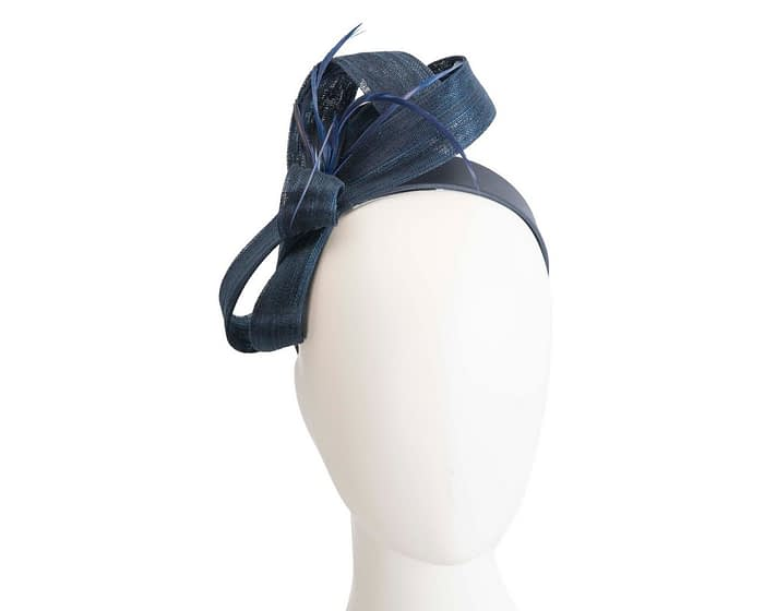 Navy loops & feathers racing fascinator by Fillies Collection Fascinators.com.au