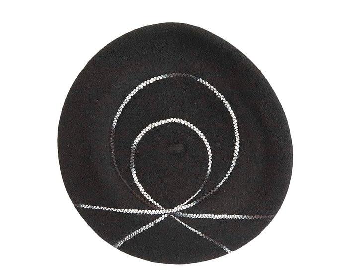 Warm black woolen European Made beret Fascinators.com.au