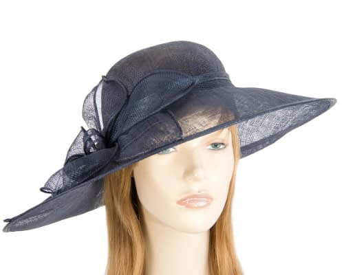 Large navy sinamay hat by Max Alexander Fascinators.com.au