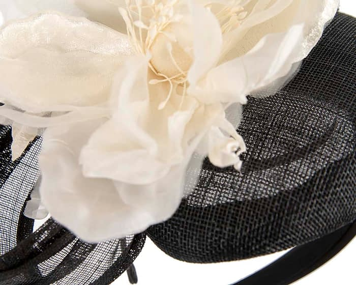 Black and cream flower pillbox racing fascinator by Fillies Collection Fascinators.com.au