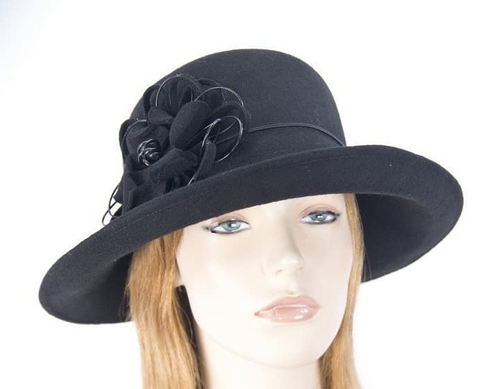 Large black ladies felt hat Fascinators.com.au