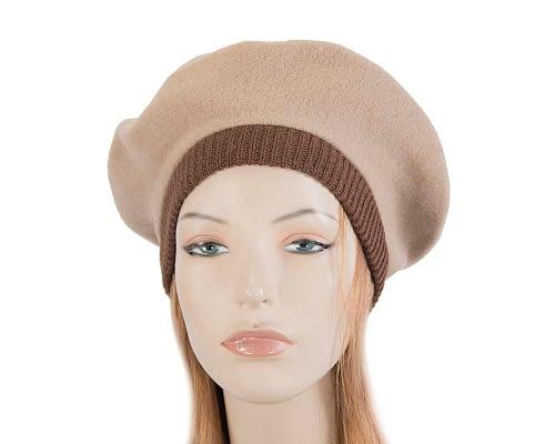 Warm beige and brown woolen embroidered European Made beret Fascinators.com.au