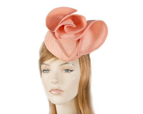 Coral stewardess pillbox fascinator hat Fascinators.com.au