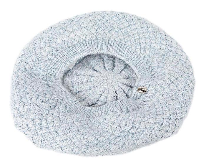 Classic warm crocheted light blue wool beret. Made in Europe Fascinators.com.au