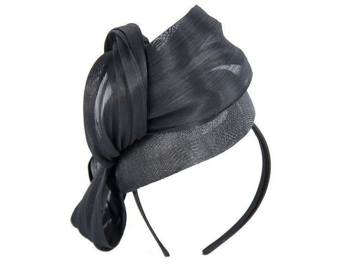 Black pillbox silk abaca bow Fascinators.com.au