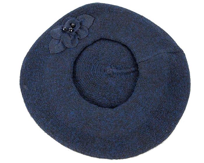 Warm navy wool beret. Made in Europe Fascinators.com.au