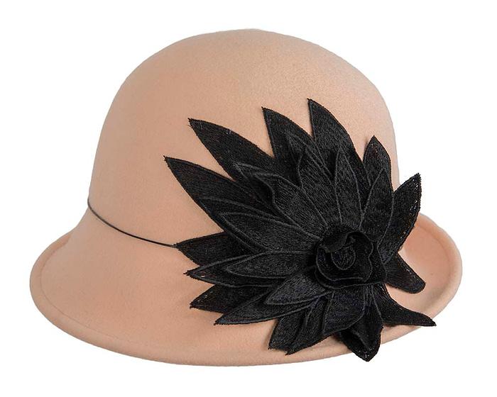 Beige winter felt cloche hat with lace flower by Max Alexander Fascinators.com.au