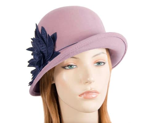 Dusty pink winter felt cloche hat with lace flower by Max Alexander Fascinators.com.au