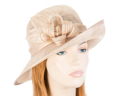 Nude bucket fashion hat Fascinators.com.au SP397 nude