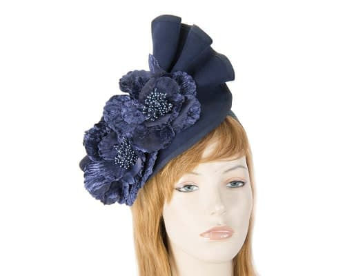 Navy Fillies Collection fascinator with flowers F591N Fascinators.com.au