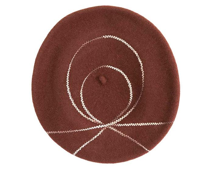 Warm chocolate woolen European Made beret Fascinators.com.au