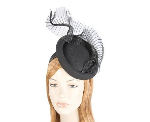 Bespoke black winter fascinator by Fillies Collection Fascinators.com.au