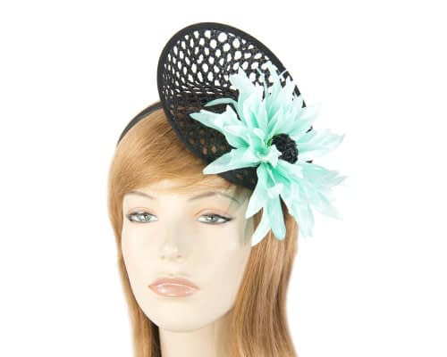 Black & aqua plate with large flower fascinator Fascinators.com.au