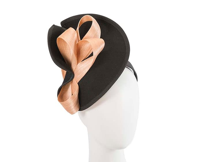 Twisted black & nude winter fascinator by Fillies Collection Fascinators.com.au