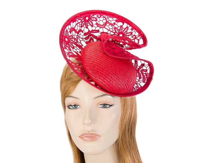 Red lace headpiece Fascinators.com.au