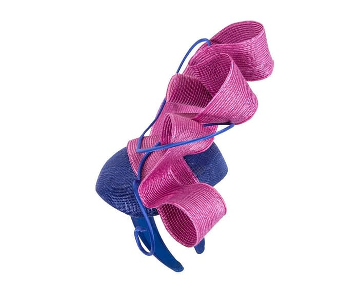 Designers blue & fuchsia Australian Made racing fascinator by Fillies Collection Fascinators.com.au