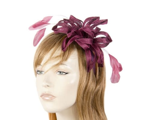 Wine sinamay loops fascinator Fascinators.com.au
