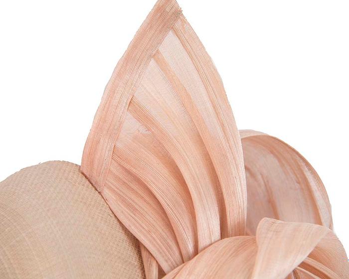 Nude pillbox with silk abaca bow Fascinators.com.au
