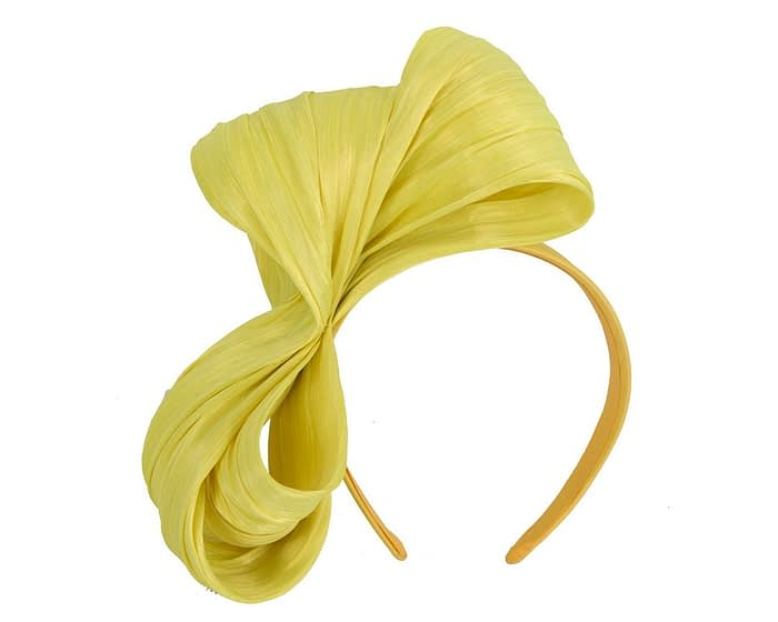 Large yellow bow racing fascinator by Fillies Collection Fascinators.com.au