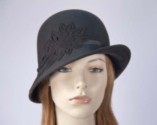 Black ladies winter felt cloche hat Max Alexander J285B Fascinators.com.au
