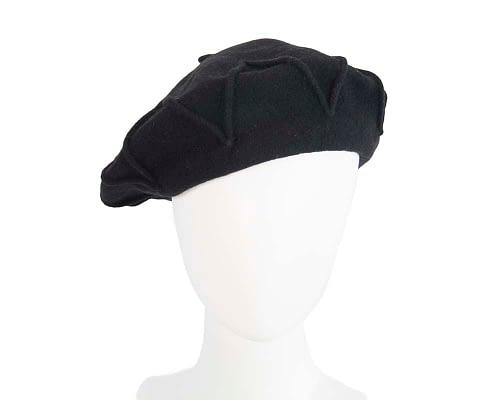Warm black woolen European Made french beret Fascinators.com.au