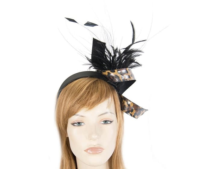 Black & leopard twist with feathers by Filies Collection Fascinators.com.au