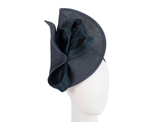 Navy designers racing fascinator with bow by Fillies Collection Fascinators.com.au
