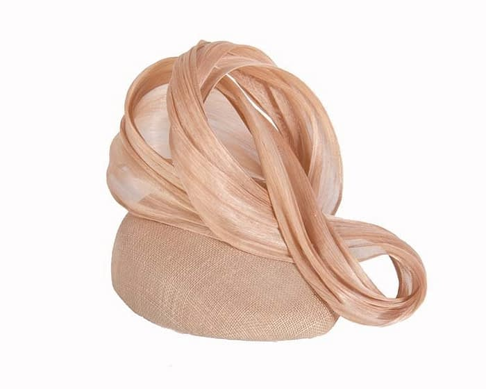 Nude pillbox silk abaca bow Fascinators.com.au
