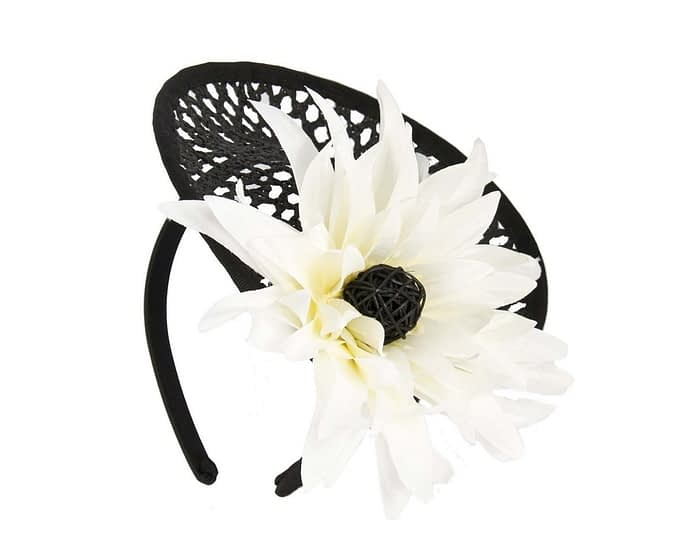 Black & cream plate with large flower fascinator Fascinators.com.au