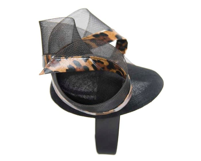Stunning black & leopard racing fascinator Fascinators.com.au