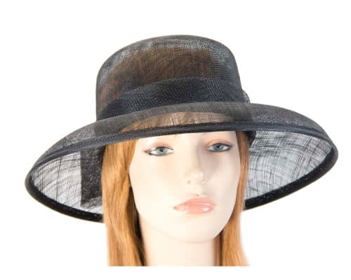 Black wide brim sinamay hat with bow Fascinators.com.au
