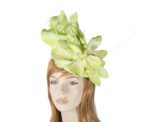 Lime fascinator with flower Fascinators.com.au