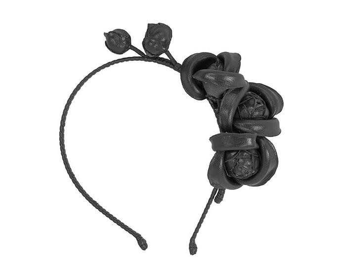 Black leather flower headband fascinator Fascinators.com.au