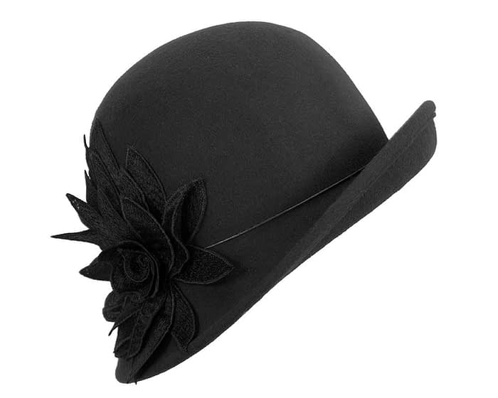 Black winter felt cloche hat with lace flower by Max Alexander Fascinators.com.au