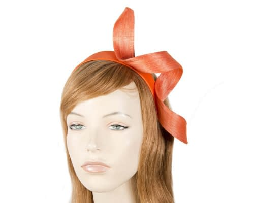 Orange abaca twisted racing fascinator Fascinators.com.au