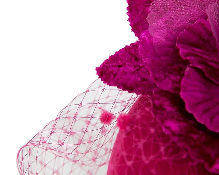 Fuchsia winter felt pillbox with face veil by Fillies Collection Fascinators.com.au