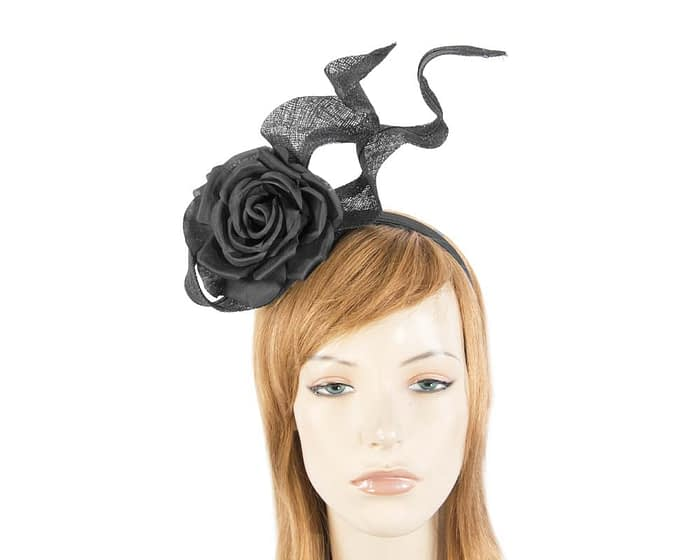 Edgy black fascinator with flower Fascinators.com.au