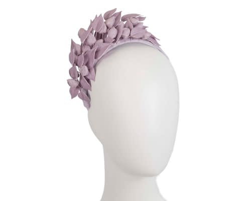 Lilac leather flower racing fascinator by Max Alexander Fascinators.com.au
