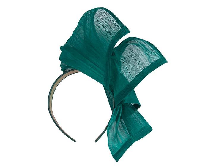 Twisted teal silk abaca fascinator by Fillies Collection Fascinators.com.au