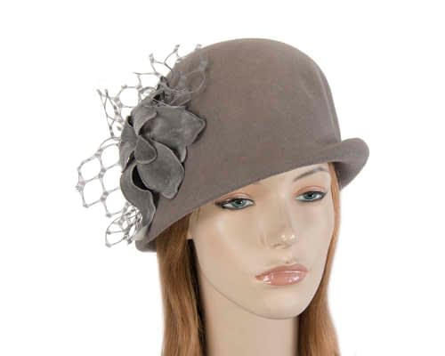 Grey cloche felt ladies winter hat with flower Fascinators.com.au