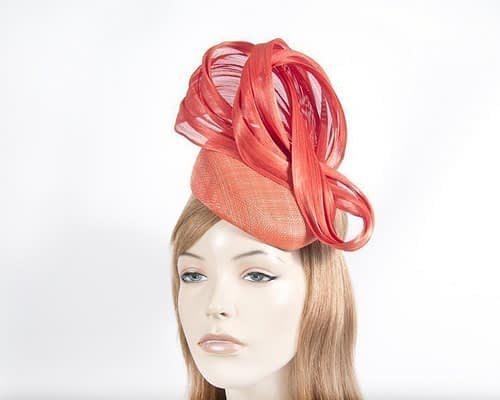 Orange pillbox silk abaca bow Fascinators.com.au